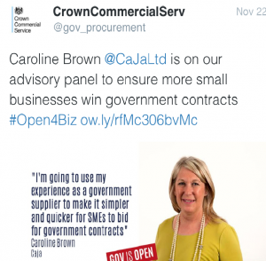 Tweet from Crown Commercial Service.